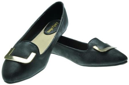 Mokasyny balerinki czarne z klamrą