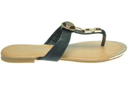 Sandały japonki damskie czarne ze złotym okuciem