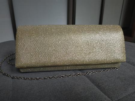 Torebka kopertówka złota brokatowa