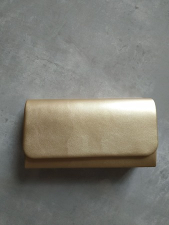 Torebka kopertówka złota skórkowa